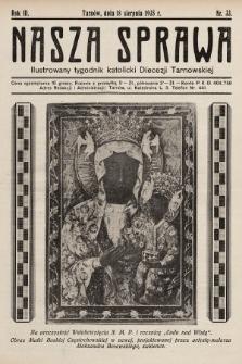 Nasza Sprawa : ilustrowany tygodnik katolicki Diecezji Tarnowskiej. 1935, nr33
