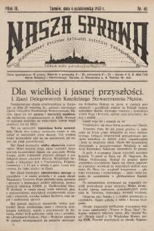 Nasza Sprawa : ilustrowany tygodnik katolicki Diecezji Tarnowskiej. 1935, nr40