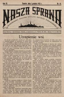 Nasza Sprawa : ilustrowany tygodnik katolicki Diecezji Tarnowskiej. 1935, nr48