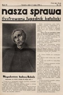 Nasza Sprawa : ilustrowany tygodnik katolicki. 1936, nr20