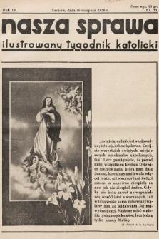 Nasza Sprawa : ilustrowany tygodnik katolicki. 1936, nr33