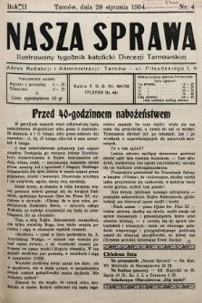 Nasza Sprawa : ilustrowany tygodnik katolicki Diecezji Tarnowskiej. 1934, nr4