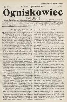 Ogniskowiec : dwutygodnik Komisji Śląskiej Zarządu Głównego Związku Polskiego Nauczycielstwa Szkół Powszechnych. 1928, nr15