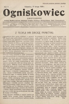 Ogniskowiec : dwutygodnik Komisji Śląskiej Zarządu Głównego Związku Polskiego Nauczycielstwa Szkół Powszechnych. 1929, nr4
