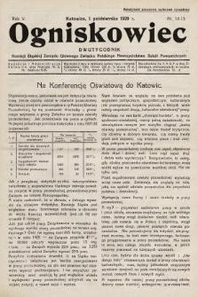 Ogniskowiec : dwutygodnik Komisji Śląskiej Zarządu Głównego Związku Polskiego Nauczycielstwa Szkół Powszechnych. 1929, nr14-15