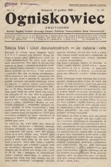 Ogniskowiec : dwutygodnik Komisji Śląskiej Zarządu Głównego Związku Polskiego Nauczycielstwa Szkół Powszechnych. 1929, nr20