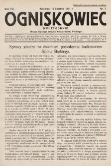 Ogniskowiec : dwutygodnik Okręgu Śląskiego Związku Nauczycielstwa Polskiego. 1931, nr7