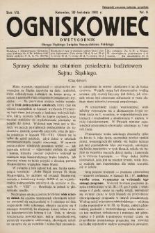 Ogniskowiec : dwutygodnik Okręgu Śląskiego Związku Nauczycielstwa Polskiego. 1931, nr8