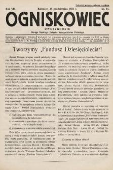 Ogniskowiec : dwutygodnik Okręgu Śląskiego Związku Nauczycielstwa Polskiego. 1931, nr15