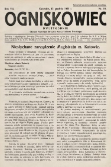 Ogniskowiec : dwutygodnik Okręgu Śląskiego Związku Nauczycielstwa Polskiego. 1931, nr19