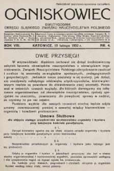 Ogniskowiec : dwutygodnik Okręgu Śląskiego Związku Nauczycielstwa Polskiego. 1932, nr4