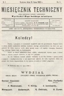 Miesięcznik Techniczny : pismo poświęcone technice i przemysłowi. 1905, nr1