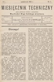 Miesięcznik Techniczny : pismo poświęcone technice i przemysłowi. 1905, nr4