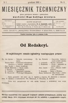 Miesięcznik Techniczny : pismo poświęcone technice i przemysłowi. 1905, nr6