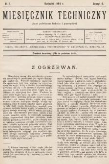 Miesięcznik Techniczny : pismo poświęcone technice i przemysłowi. 1906, nr4