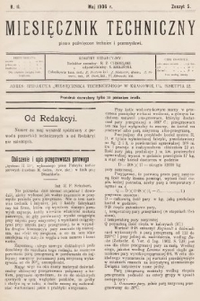 Miesięcznik Techniczny : pismo poświęcone technice i przemysłowi. 1906, nr5