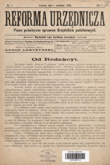 Reforma Urzędnicza : pismo poświęcone sprawom Urzędników państwowych. 1908, nr 1