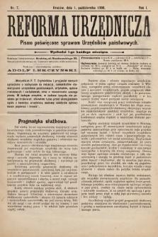 Reforma Urzędnicza : pismo poświęcone sprawom Urzędników państwowych. 1908, nr 7