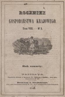 Roczniki Gospodarstwa Krajowego. R. 4, 1846, T. 8, nr 1