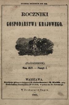 Roczniki Gospodarstwa Krajowego. R. 20, 1861, T. 45, poszyt 1