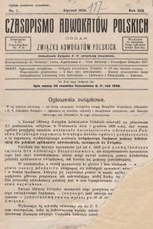 Czasopismo Adwokatów Polskich : organ Związku Adwokatów Polskich. 1929, nr1
