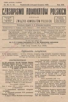 Czasopismo Adwokatów Polskich : organ Związku Adwokatów Polskich. 1929, nr10. 11. 12