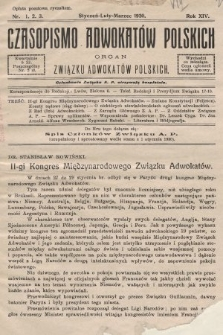 Czasopismo Adwokatów Polskich : organ Związku Adwokatów Polskich. 1930, nr1. 2. 3