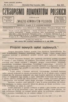Czasopismo Adwokatów Polskich : organ Związku Adwokatów Polskich. 1930, nr4. 5. 6