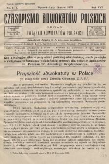 Czasopismo Adwokatów Polskich : organ Związku Adwokatów Polskich. 1933, nr1-3