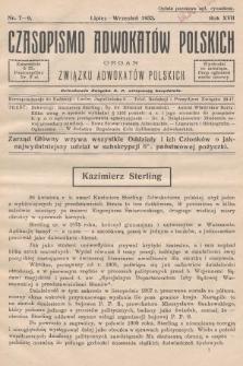 Czasopismo Adwokatów Polskich : organ Związku Adwokatów Polskich. 1933, nr7-9