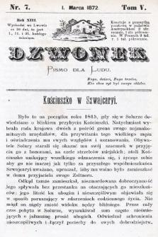 Dzwonek : pismo dla ludu. Nowa Serya. R. 13, 1872, T. 5, nr7