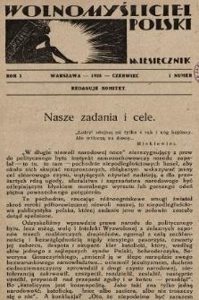 Wolnomyśliciel Polski. 1928, nr1
