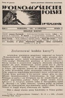 Wolnomyśliciel Polski. 1931, nr11