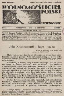 Wolnomyśliciel Polski. 1932, nr1