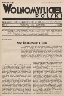 Wolnomyśliciel Polski : dziecięciodniowiec poświęcony sprawom społecznym, naukowym i literackim. 1936, nr4