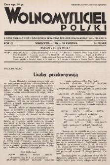 Wolnomyśliciel Polski : dziecięciodniowiec poświęcony sprawom społecznym, naukowym i literackim. 1936, nr14