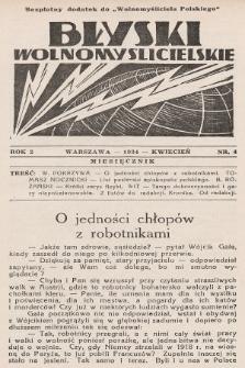 """Błyski Wolnomyślicielskie : bezpłatny dodatek do """"Wolnomyśliciela Polskiego"""". 1934, nr4"""