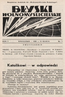 """Błyski Wolnomyślicielskie : bezpłatny dodatek do """"Wolnomyśliciela Polskiego"""". 1935, nr7"""