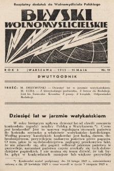 """Błyski Wolnomyślicielskie : bezpłatny dodatek do """"Wolnomyśliciela Polskiego"""". 1935, nr11"""