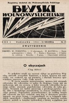 """Błyski Wolnomyślicielskie : bezpłatny dodatek do """"Wolnomyśliciela Polskiego"""". 1935, nr21"""