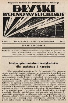 """Błyski Wolnomyślicielskie : bezpłatny dodatek do """"Wolnomyśliciela Polskiego"""". 1935, nr22"""