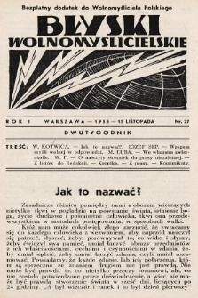 """Błyski Wolnomyślicielskie : bezpłatny dodatek do """"Wolnomyśliciela Polskiego"""". 1935, nr27"""