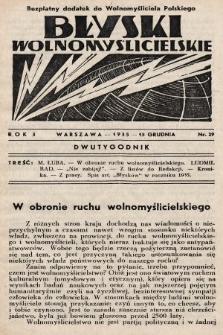 """Błyski Wolnomyślicielskie : bezpłatny dodatek do """"Wolnomyśliciela Polskiego"""". 1935, nr29"""