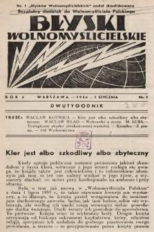 """Błyski Wolnomyślicielskie : bezpłatny dodatek do """"Wolnomyśliciela Polskiego"""". 1936, nr2"""