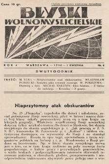 Błyski Wolnomyślicielskie. 1936, nr8