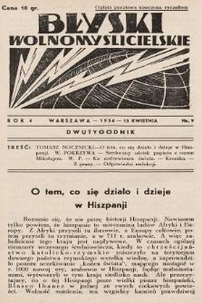 Błyski Wolnomyślicielskie. 1936, nr9