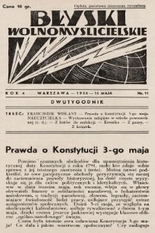 Błyski Wolnomyślicielskie. 1936, nr11