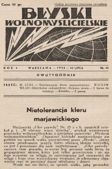 Błyski Wolnomyślicielskie. 1936, nr15