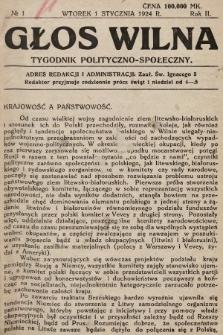 Głos Wilna : tygodnik polityczno-społeczny. 1924, nr1