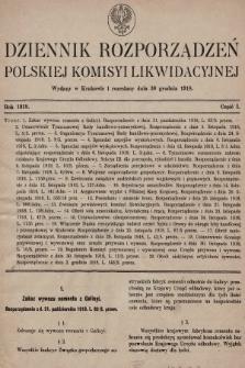 Dziennik Rozporządzeń Polskiej Komisyi Likwidacyjnej. 1918, część I